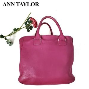 ANN TAYLOR Pink Pebbled Leather Lg Tote Bag Purse